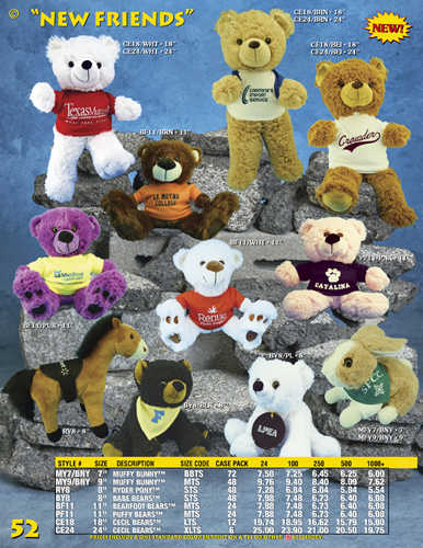 Catalog Page 52 - Assorted new styles of teddy bears, pony and rabbit.