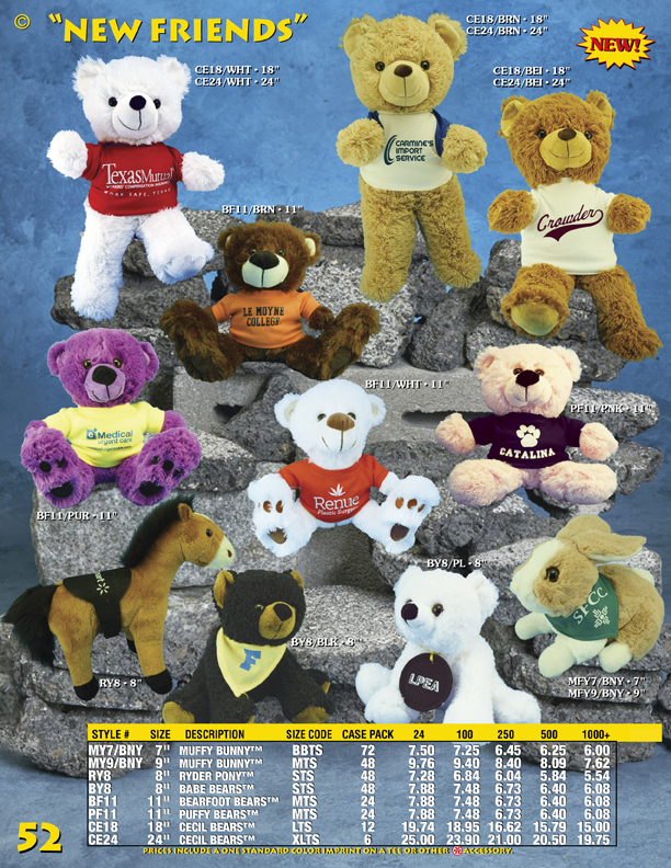 Catalog Page 52. Uniforms and costumes for plush toys.