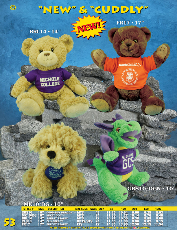 "Catalog Page 53. 10"" green dragon with purple colored horns. Plush toy dog with custom printed t-shirt."