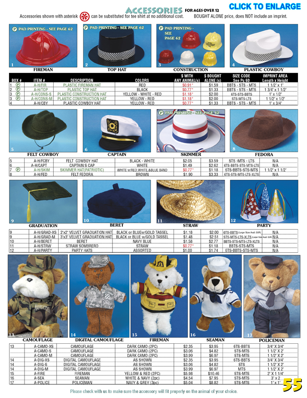 Catalog Page 55. Teddy bear boxing shorts. Teddy bear hats. Embroidered teddy bear sweaters.
