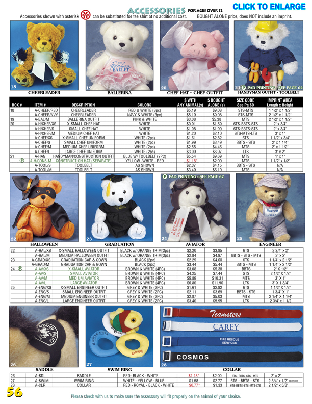 Catalog Page 56. Teddy bear printed ribbon. Teddy bear swim ring. Backpacks for teddy bears.