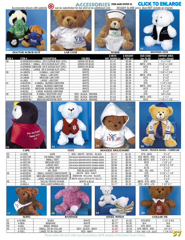 Catalog Page 57. Teddy bear doctor and nurse scrubs, vests, capes and angel wings.