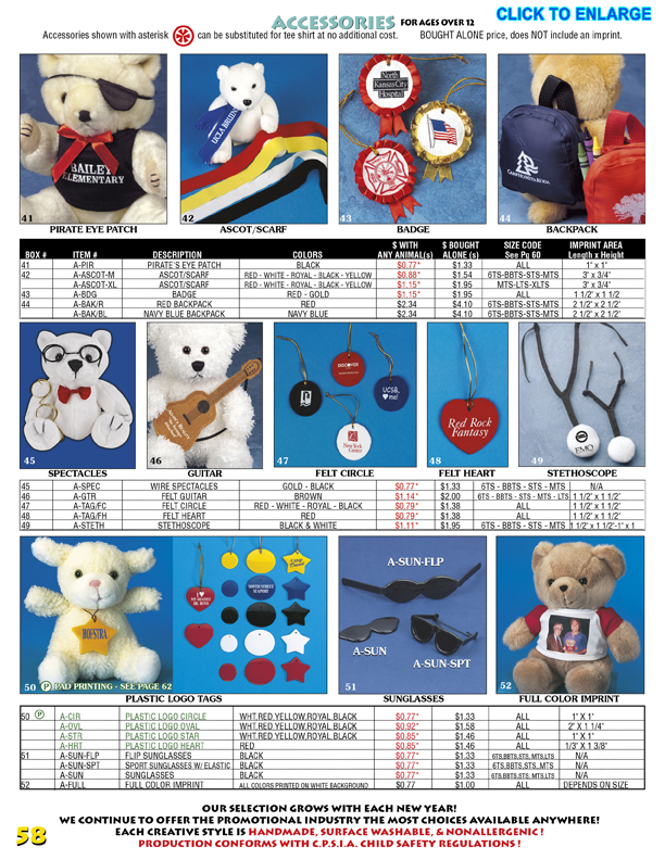 Catalog Page 58. Teddy bear backpacks, eye patch, eye glasses, sun glasses, and logo tags.