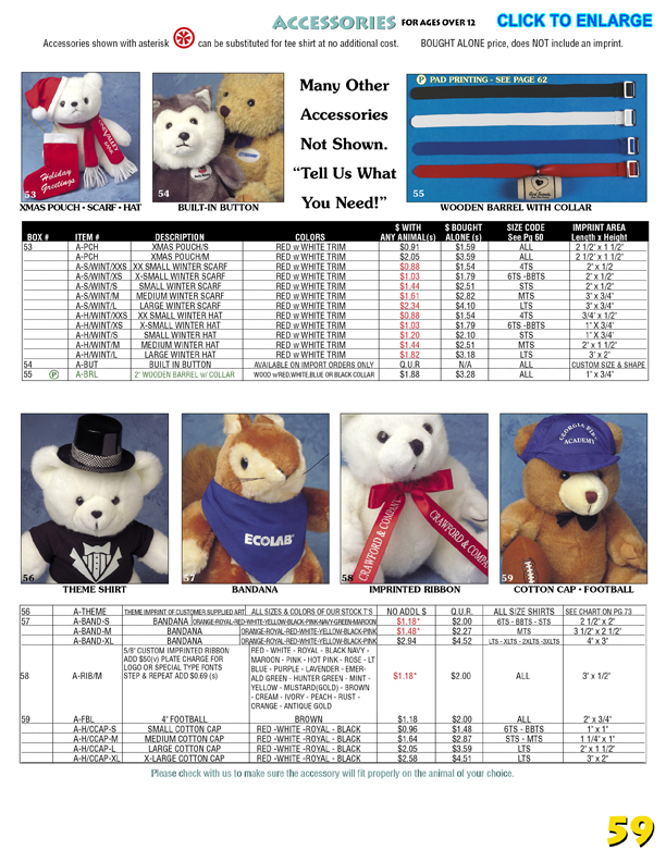 Catalog Page 61. Toy sungllasses for teddy bears. Bandages for beanie bears. Dog tags for bears.