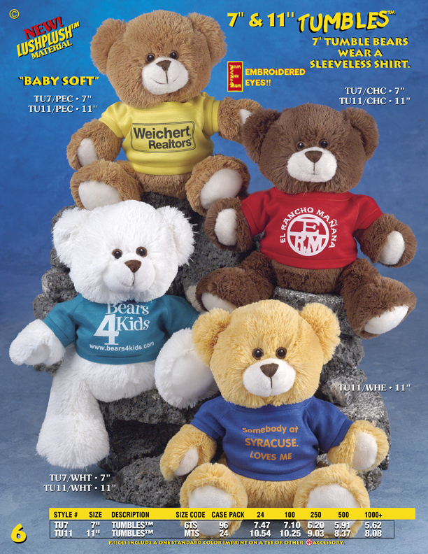 "Catalog Page 6. Order 7"" and 11"" Tumbles Teddy Bears. Soft fur bears with printed T-Shirts."