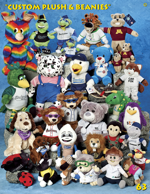 Catalog Page 63. Customized teddy bears with silk-screened t-shirts for sale.