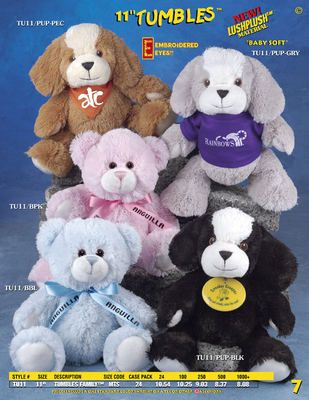 "Catalog Page 7. Order 11"" Tumbles Teddy Bears with T-Shirts and soft fur."