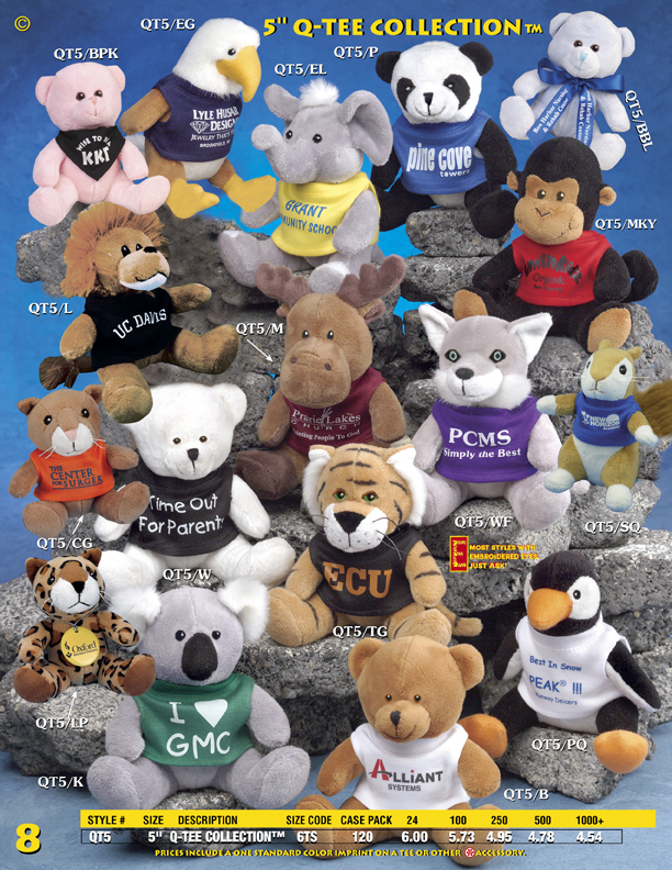 "Catalog Page 8. Order 5"" Q-TEE stuffed animals with silk-screened T-Shirts."