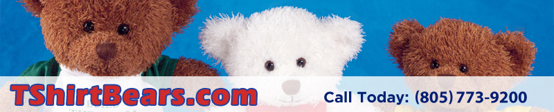 TShirt Bears. Personalized teddy bears wearing imprinted T-Shirts featuring your logo or slogan.